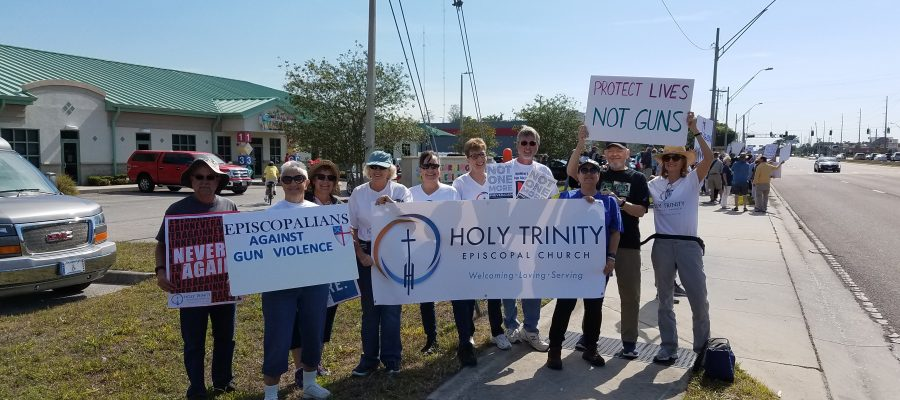 Episcopalians from Holy Trinity Episcopal Church march against gun violence